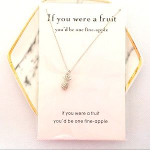 Fine Apple Pineapple Silver Pendant Necklace NWT